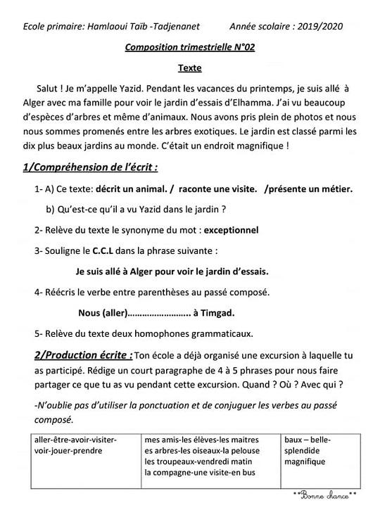 sujet de français 5ème année primaire 2eme trimestre